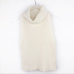 Lovers + Friends White Knit Turtleneck Sleeveless